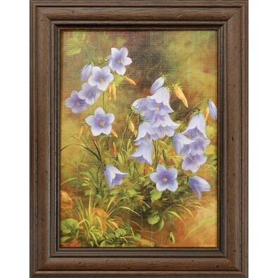 Obraz reprodukce Modré květiny, 13 x1 8 cm