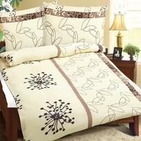Lenjerie de pat din crep Penaj, maro, 140 x 220 cm, 70 x 90 cm
