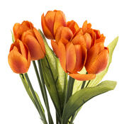 Umělá květina tulipán 9 ks, oranžová