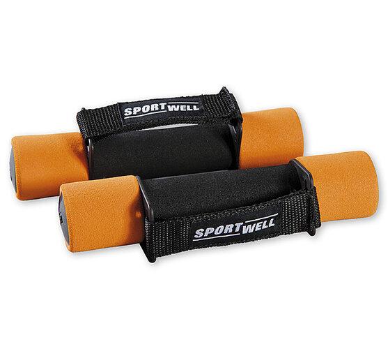 Činky molitanové SportWell 2 x 1 kg, oranžová, 20,5 x 4 cm