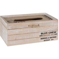 Drevený box na vreckovky Blue Crew, 24 x 9,7 x 13 cm