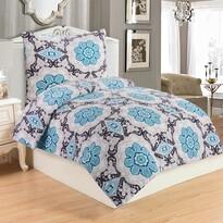 Lenjerie de pat Dona Blue, din micro-pluș, 140 x 200 cm, 70 x 90 cm