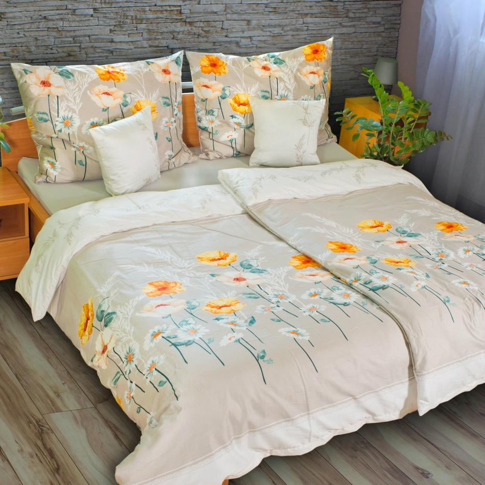 Kvalitex Satén obliečky Flowers, 220 x 200 cm, 2 ks 70 x 90 cm