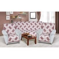 Narzuty na kanapę i fotele Karmela plus 3+1+1 Fala burgundy, 1 szt. 150 x 200 cm, 2 szt. 65 x 150 cm