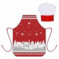 Vianočný detský set zástera s kuchynskou čiapkou, červená