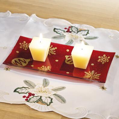 Skleněný tácek pod svíčku - obdélník, červená