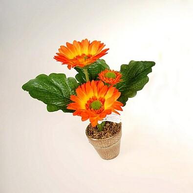 Umělá květina gerbera v květináči oranžová