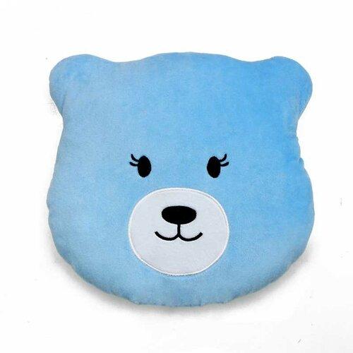 Domarex Plyšový polštářek Medvídek modrá, 27 x 26 cm
