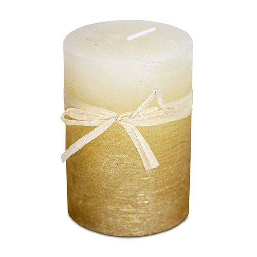 Sviečka z vosku zlato-ľadový efekt, 6,8 x 9,5 cm