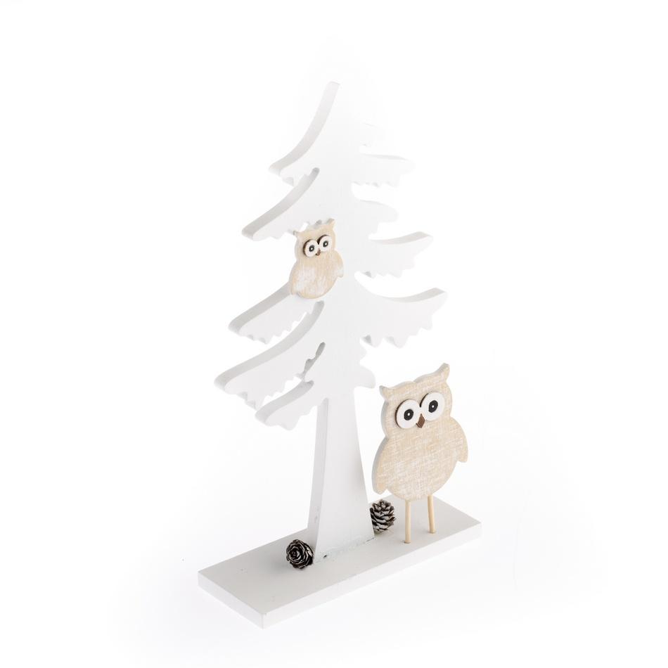 Vánoční dřevěný stromek Sovičky, bílá