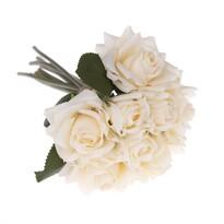 Buchet artificial trandafiri crem, 26 cm