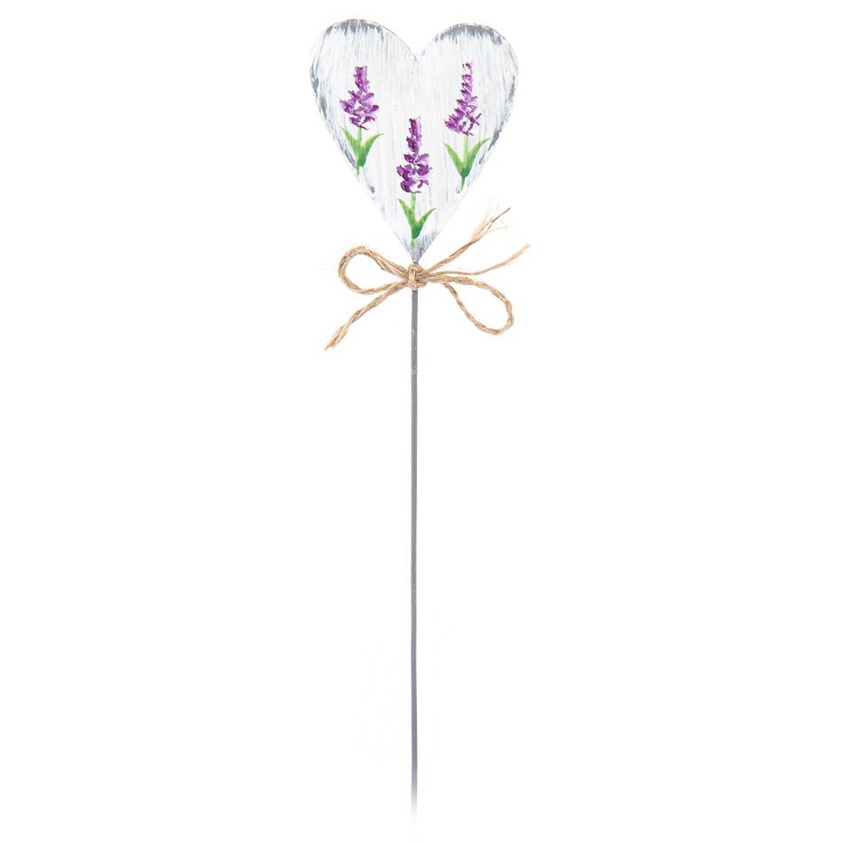 Zápich Levadulové srdce bílá, 29 cm