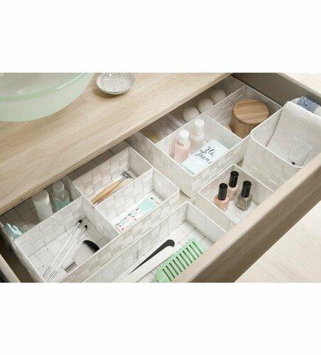 Compactor Organizator depozitare pentru sertar M TEX, 18 x 12 x 7 cm, alb