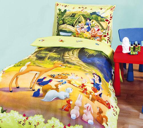Detské bavlnené obliečky Snehulienka a 7 trpaslíko, viacfarebná, 140 x 200 cm, 70 x 90 cm