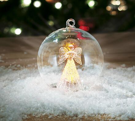 Vánoční skleněná ozdoba, transparentní, 12 x 13,5 cm