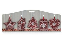 Závěsná vánoční dekorace Folklor červená, 5 ks