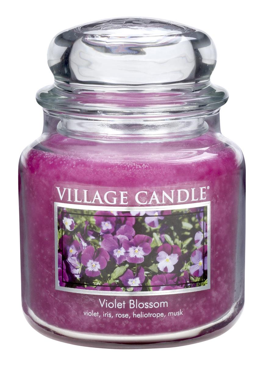 Village Candle Vonná svíčka ve skle, Fialky - Violet Blossom, 397 g, 397 g