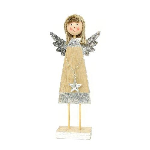Autronic Andělíček, dřevěná vánoční dekorace ZA8605, 21 cm