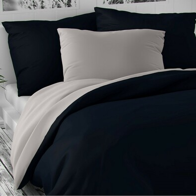 Saténové obliečky Luxury Collection tm. modrá/sv. sivá, 240 x 220 cm, 2 ks 70 x 90 cm