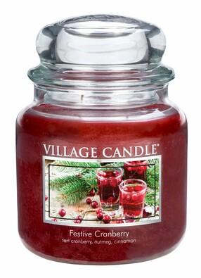 Village Candle Vonná svíčka Vánoční brusinky- Festive Cranberry, 397 g