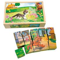 Bino Obrázkové kostky Domácí zvířata, 15 ks