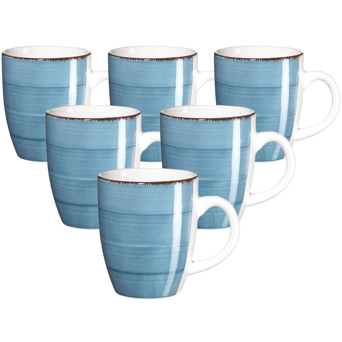 Mäser Sada keramických hrnků Bel Tempo 380 ml, 6 ks, modrá