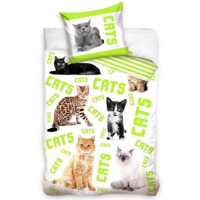 Pościel bawełniana Cats, 140 x 200 cm, 70 x 80 cm