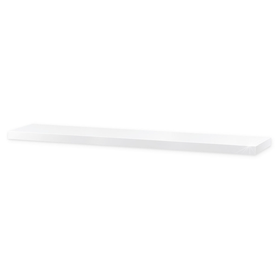 Nástěnná polička lesklá 120 cm, bílá, 120 cm