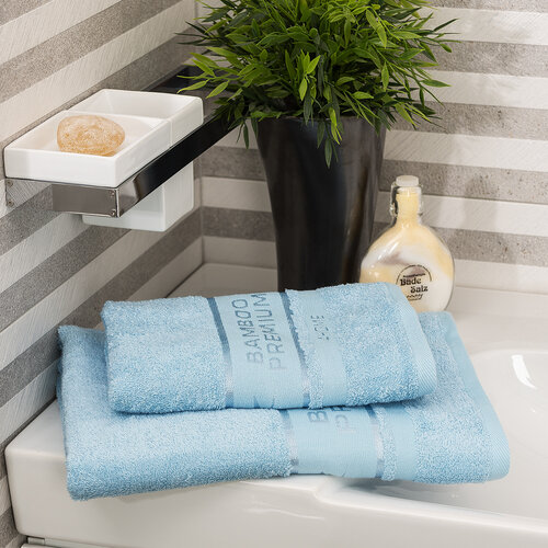 4Home Bamboo Premium törölköző és fürdőlepedő szett világoskék, 70 x 140 cm, 50 x 100 cm