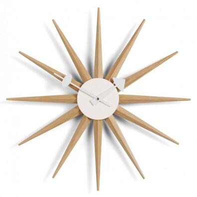 Nástěnné hodiny Sunburst Clock 47 cm, dub