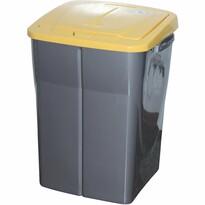 Szelektív hulladékgyűjtő kosár, 51 x 36 x 36,5 cm, sárga fedél, 45 l