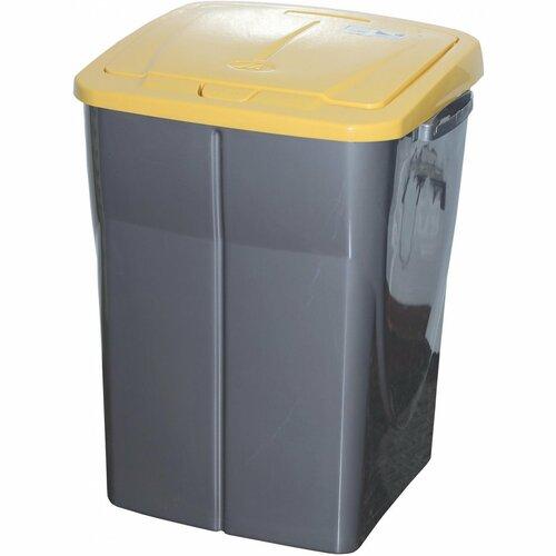 Koš na tříděný odpad 51 x 36 x 36,5 cm, žluté víko, 45 l