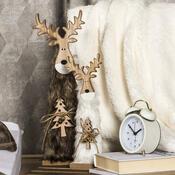 Ren din lemn Crăciun Ervín alb, 30 cm