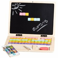 Ecotoys Drevený notebook s magnetickým monitorom, 30 x 22 x 22 cm