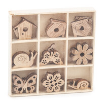 Sada dřevěných dekorací Na zahrádce, 27 ks