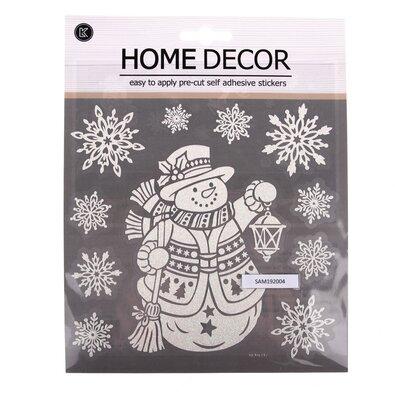 Trblietavé vianočné samolepky 18 x 24 cm, snehuliak