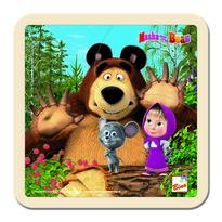 Bino Puzzle, Mása és a medve málnákkal, 15 x 15 cm