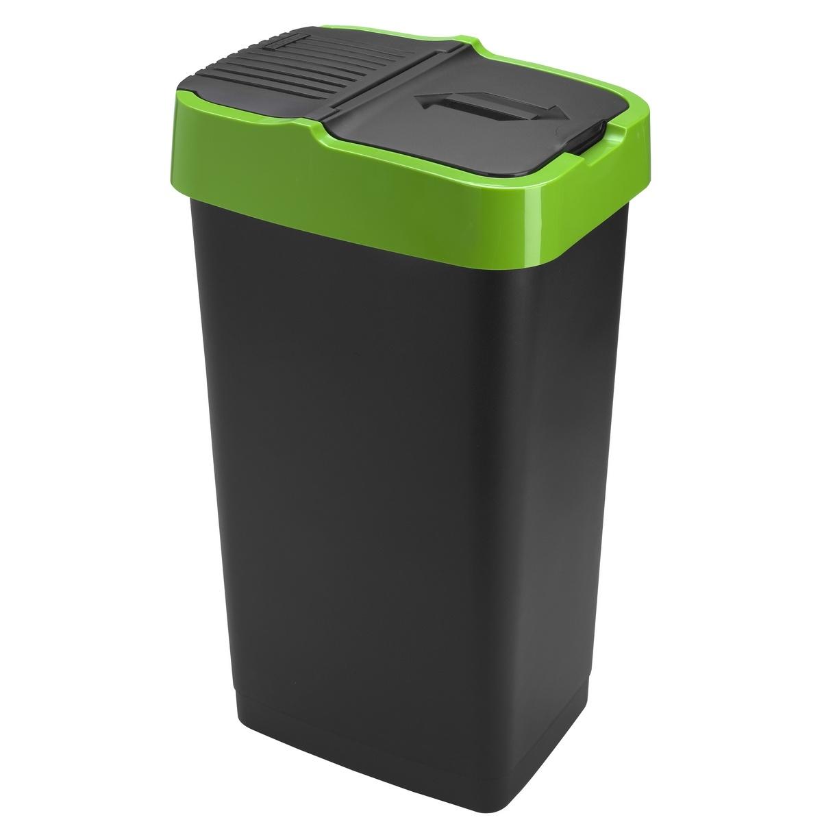 Heidrun Odpadkový kôš 60 l, so zeleným pruhom