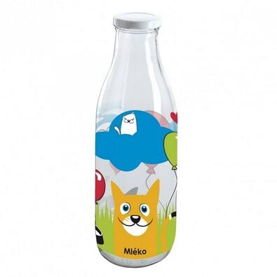 Skleněná láhev na mléko kočky 1 l