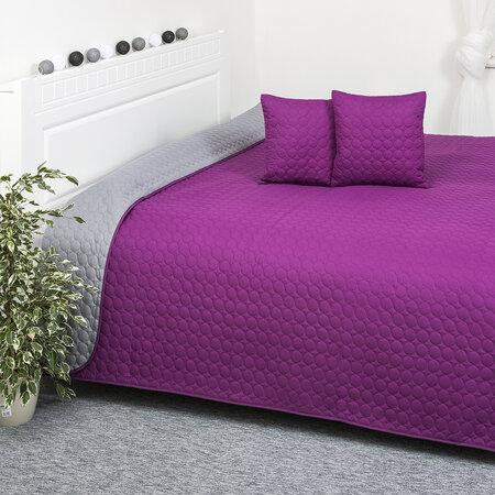 4Home Přehoz na postel Doubleface fialová/šedá, 220 x 240 cm, 2x 40 x 40 cm