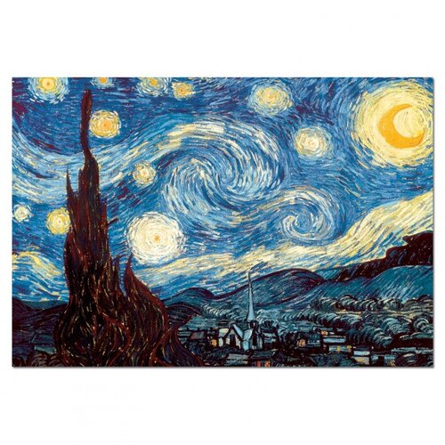 Puzzle EDUCA 1000 dielikov - V. van Gogh, Hviezdna, viacfarebná