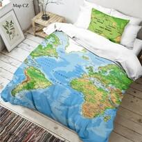 Detské bavlnené obliečky Mapa sveta 3D, 140 x 200 cm, 70 x 90 cm