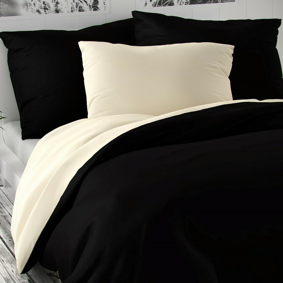 Kvalitex Saténové povlečení Luxury Collection černá / smetanová, 240 x 220 cm, 2 ks 70 x 90 cm