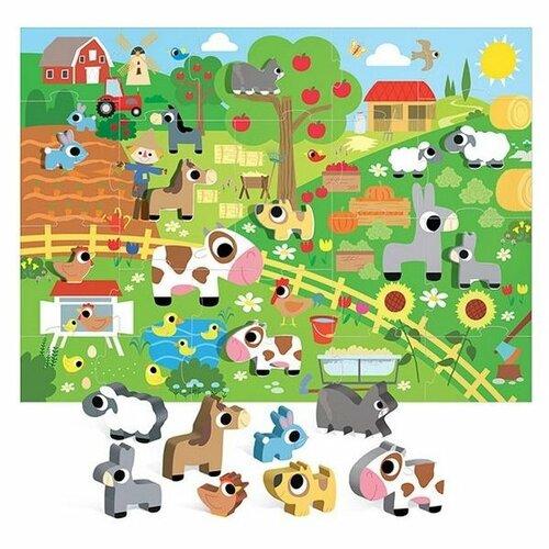 Headu Puzzle Farma s 8 drevenými vkladacímifigúrkami (Montessori)