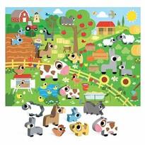 Puzzle Headu Fermă cu 8 figurine din lemn(Montessori)