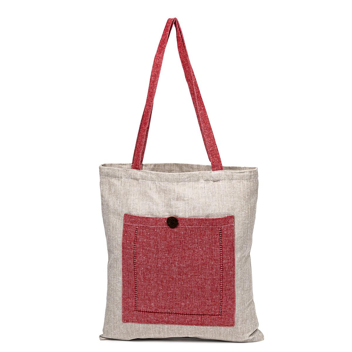 Sacoșă de cumpărături Heda roșu / bej, 40 x 45 cm imagine 2021 e4home.ro