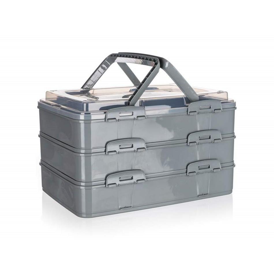 BANQUET Party box s držadly CULINARIA 42 x 29 x 25 cm, šedý