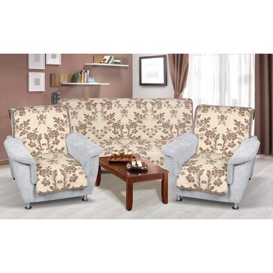 Narzuty na kanapę i fotele Karmela plus 3+1+1 Kwiat beżowy, 1 szt. 150 x 200 cm, 2 szt. 65 x 150 cm