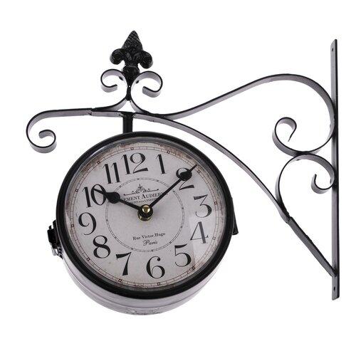 Kétoldalas függesztett fém óra, fekete, 31 x 30 cm