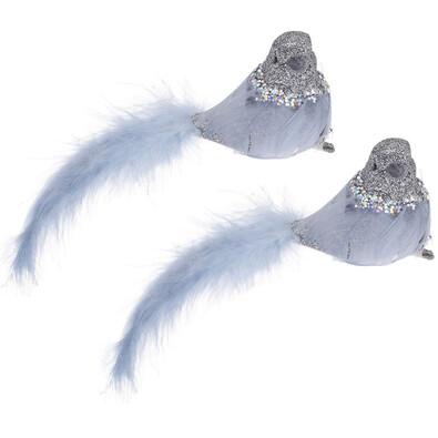 Dekorációs madárka csipesszel kék, 2 db